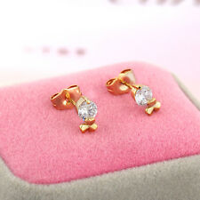 Lovely Children gold filled Charm Ruby crystal Clover Stud Earrings