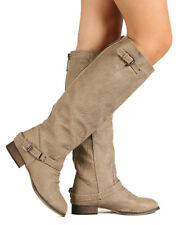 Breckelle Outlaw-11 New Women Leatherette Buckle Riding Knee High Boot