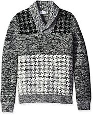 Calvin Klein Men's Lambswool Houndstooth Shawl Sweater - Choose SZ/Color