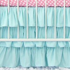 "1 Qty Multi Ruffle Bed Skirt Egyptian Cotton 1000TC Drop 15"" Aqua Blue Solid"