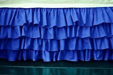 "1 Qty Multi Ruffle Bed Skirt Egyptian Cotton 1000TC Drop 15""Egyptian Blue Solid"