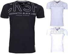 Mens T Shirt Crosshatch V Neck Cotton T-Shirt Short Sleeve Casual Top - New