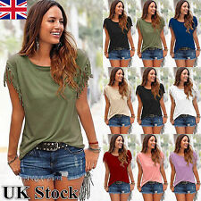 UK Womens Tassels Short Sleeve Loose T-Shirt Summer Casual Ladies Tops Blouse