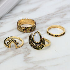 4Pcs Vintage Boho Carved Moon Antique Silver Gold Plated Midi Rings Women 17mm