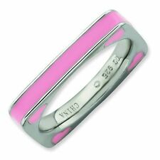 Pink Hearts Enamel Square Band Sterling Silver Stackable Ring