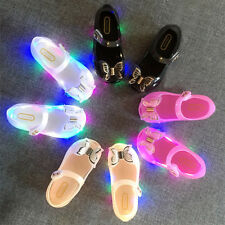 Kids Girls Toddlers Cute LED Light Up Bowknot Summer Walk Jelly Shoes Sandals