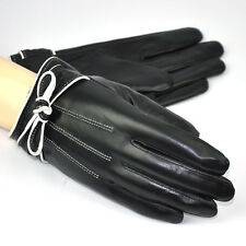 Women's Genuine Leather Driving Gloves Smart Touch Screen Bowknot Fleece Lined
