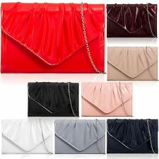 Women Envelope Evening Bag Patent Leatherette Clutch Ladies Wedding Prom