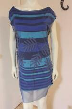 Save The Queen Italy Art to Wear Striped Dress With Embellished Mesh Overlay M