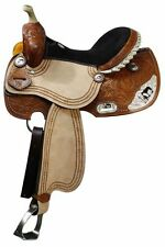Double T Barrel style saddle with praying cowboy silver accents.