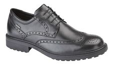 Mens New Waterproof Black Leather Brogue Gibson Lace Up Shoes  6.5 7 8 9 10 11
