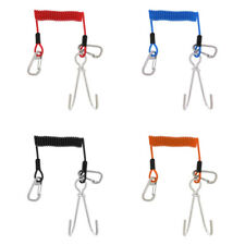Scuba Diving Double Stainless Steel Reef Drift Hook & Coil Lanyard for Cave Dive