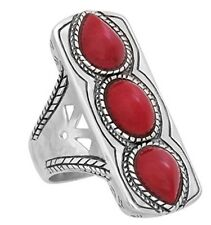 Silpada 'Deep Sea' Triple Red Coral and Sterling Silver Ring  Size 5-11