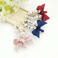 New Women Girls Sweet Imitation Pearl Beads Bowknot Hairpin Hair Clip