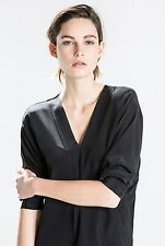 NWT  $179 Trenery COUNTRY ROAD Pure SILK SHIRT TOP - Pink - BLACK