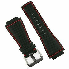 B & R Bands Black Carbon Fiber Red Stitch Bell & Ross BR01 BR03 Watch Band Strap