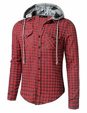Doublju Mens Long Sleeve Flannel Button Down Shirt W/ Detachable Hood GRAYRED