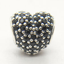 Genuine Authentic S925 Sterling Silver Black Pave Heart Charm