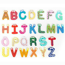 26 Alphabet Magnetic Letters A-Z Wooden Fridge Magnets Baby Kid Education Toy !