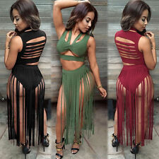 Women Sexy Bandage Strapless Bodycon Hot Club Wear Party Cocktail Long Dress