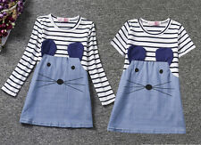 Toddler Kid Girl Stripe Stitching Denim Cute Mouse Print Tunic T-shirt Dress