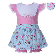 3PCS Baby Toddler Girl Spotted Shirt + Floral Skirt Culotte + Headband Set Party