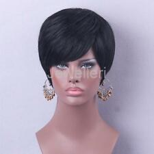 Popular Silky Real Human Hair Full Wigs Short Straight Fashion Style For Girls