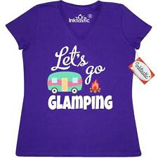 Inktastic Lets Go Glamping With Camper Vector Women's V-Neck T-Shirt Camping
