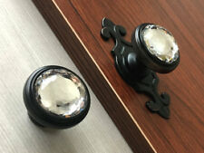 Glass Knob Crystal Drawer Pull Dresser Cabinet Door Knob Plate Oil Rubbed Bronze
