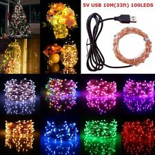 5V USB 10M 100 LEDs String Light Copper Wire Lamp Wedding Christmas Party Decor