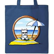 Inktastic Beach Baby Westie Tote Bag By KiniArt West Highland Terrier Dog Book
