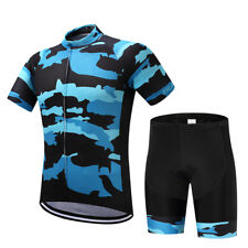 Logas Mens Short Sleeve Cycling Jersey 3D Padded Shorts Set Bicycle Bike Jersey