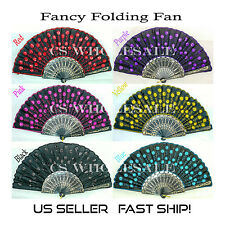 Fan Chinese Folding Fan/ Embroidered & Sequined Hand Fan *USA SELLER, SHIP FAST*