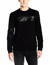 Calvin Klein Men's Leather Mix Media Crew Neck Long Sleeve Sweatshirt