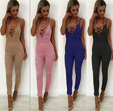 Women Sling Strappy Backless V Neck Long Pants Trouses Jumpsuit Playsuit Rompers