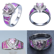 Women Ladies Jewelry 18K White Gold Plated Ring Pink Opal CZ Stone Rings Jewelry