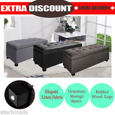 Blanket Box Storage Ottoman PU Leather Linen Fabric Foot Stool Chest Bench Bed