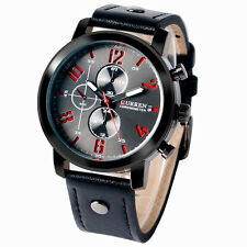 CURREN Analog Montre Homme Military Leather Band Strap Sport Men Wrist Watch