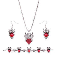 Bracelet Tibetan Silver Retro Stone Peacock Owl Necklace Earrings Jewelry sets
