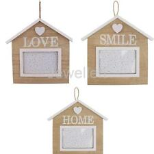 Rustic Wood House Hanging Photo Frame Family Friends Picture Holder Rome Decor