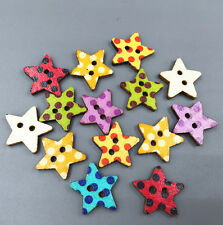 Wooden Star Buttons Dot Fit Sewing scrapbooking decoration DIY Crafts 20mm