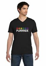 Purride Cat Paw Gay Pride Cat Lover Funny V-Neck T-Shirt Rainbow Flag
