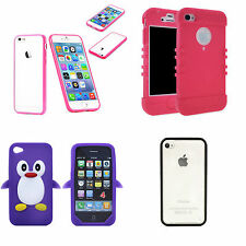 Apple Iphone 4 4S Pink, Clear TPU Bumper Case Cover Soft Hard Button USA penguin