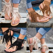 Women Suede Tassel Open Toe Beach Sandals Flats Rhinestones Ankle Strap Shoes