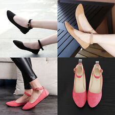 Women Ladies Casual Summer Ankle Strap Flats Buckle Court Pumps  Shoes Oxfords