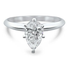 14k White Gold Pear CZ cubic zirconia solitaire engagement ring 6 prong