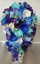 Turquoise Purple Blue Calla Lily Orchid Cascading Wedding Bouquet & Boutonniere