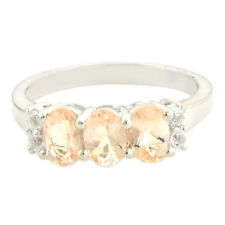 Pink Morganite 1.15 Ct White Topaz Gemstone Ring In 925 Sterling Silver Jewelry