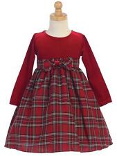 New Red Plaid Christmas Holiday Dress w/ Red Velvet Top Baby Toddler Girls 3M-10