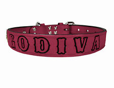 Personalized Dog Collar Pink Leather with collar mounted ID Nameplate